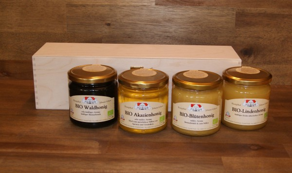 Honigsortiment BIO-Honige 4 Gl. 500g in Holzkiste